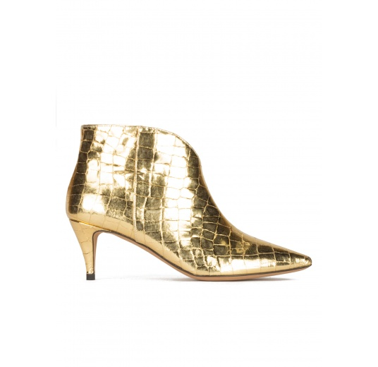 Golden mid heel ankle boots in croco-effect leather Pura L�pez