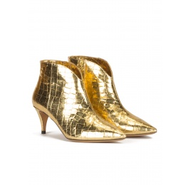 Golden mid heel ankle boots in croco-effect leather Pura López