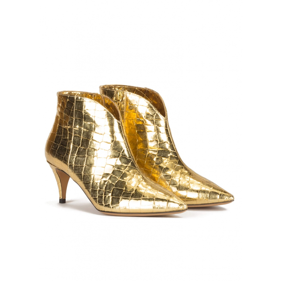 Golden mid heel ankle boots in croco-effect leather