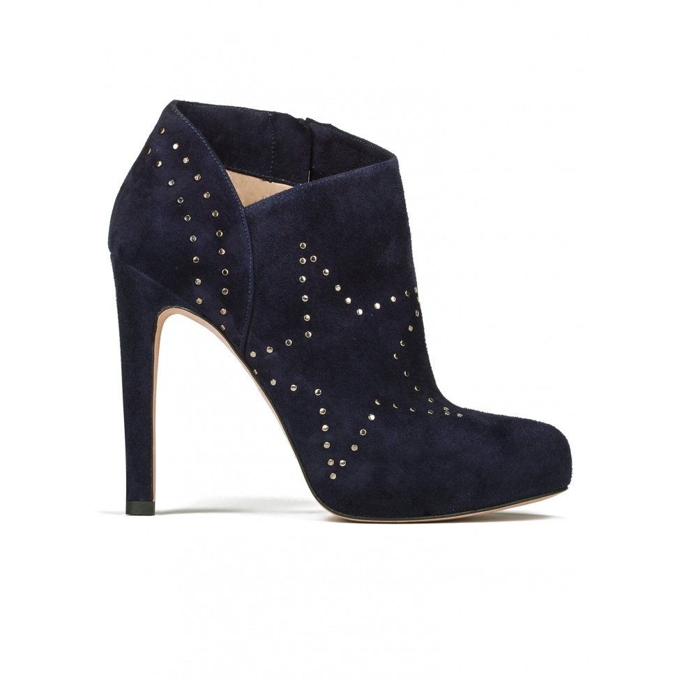 Platform high heel ankle boots in navy blue suede