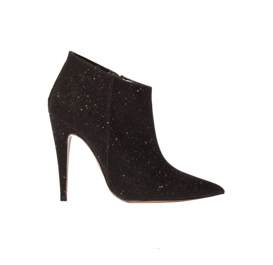 High heel ankle boots in black glitter Pura L�pez