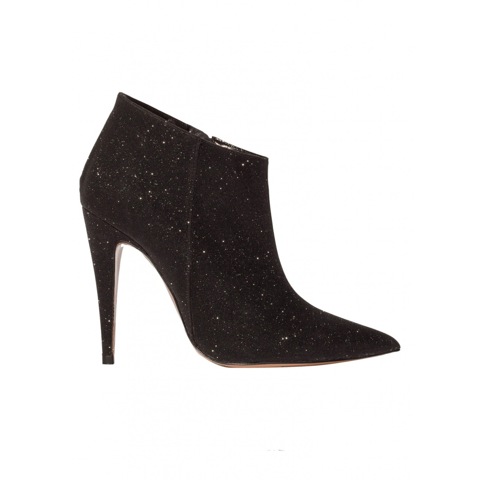 High heel ankle boots in black glitter