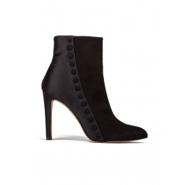 High heel ankle boots in black suede and satin Pura López
