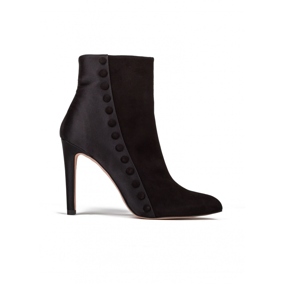 High heel ankle boots in black suede and satin