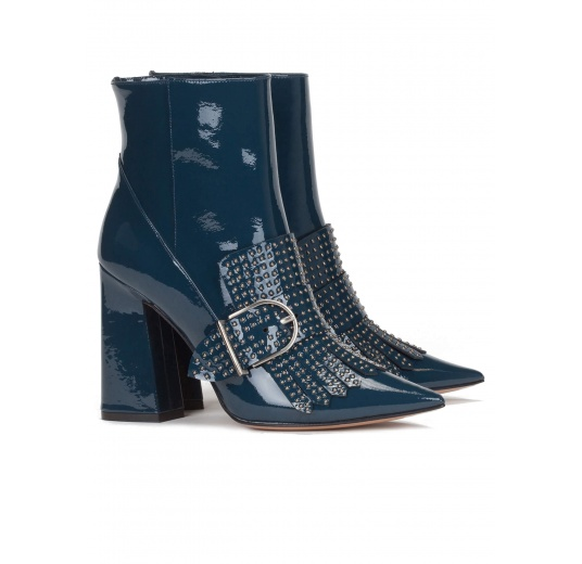 High block heel ankle boots in petrol blue patent leather Pura L�pez