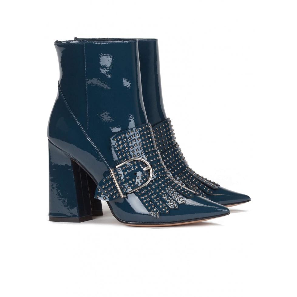 Botines de tacón alto en charol - tienda de zapatos Pura López