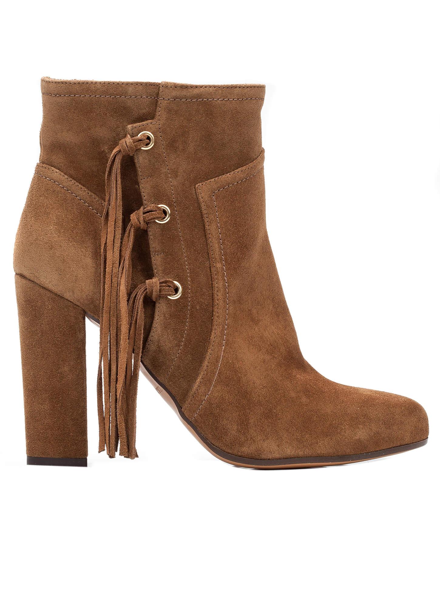 b0ba544f3 Botín marrón de tacón alto ancho - tienda de zapatos Pura López ...