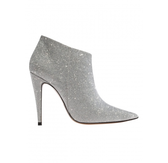 High heel ankle boots in silver glitter Pura L�pez