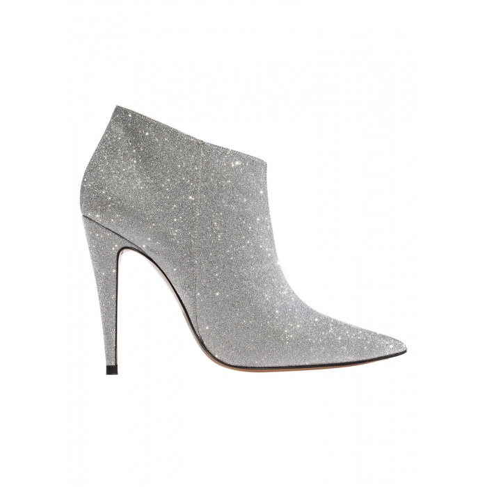 High heel ankle boots in silver glitter