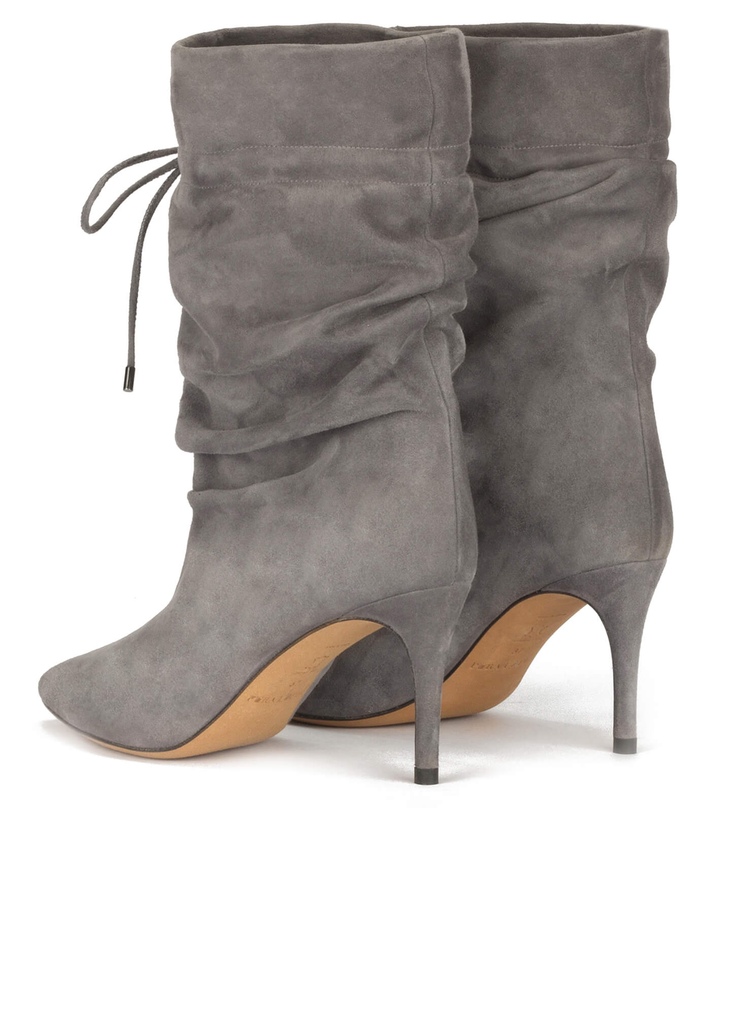 7b87331dd059c Slouchy mid-heel pointy toe ankle boots in grey suede . PURA LOPEZ