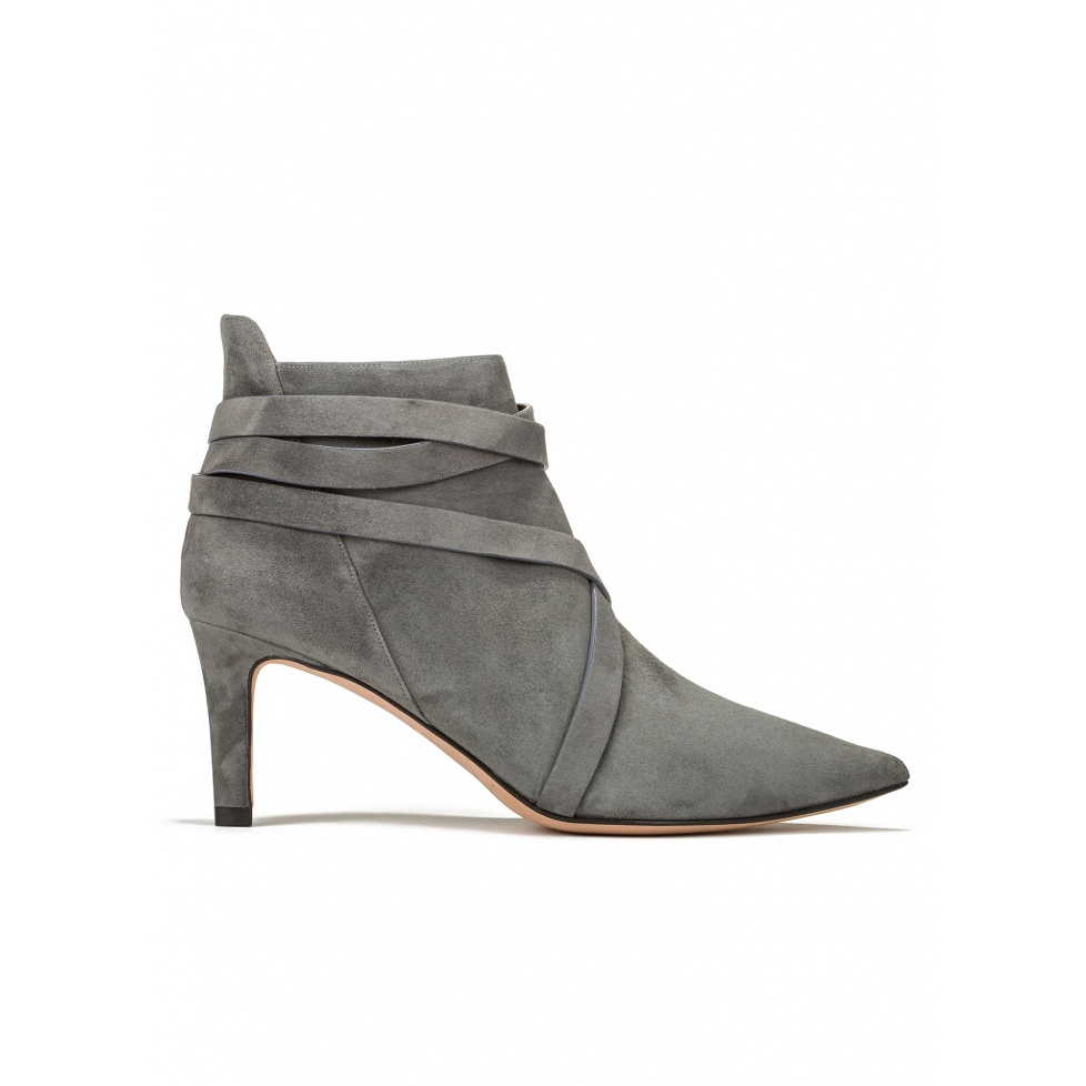 Mid heel ankle boots in grey suede