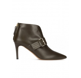 Buckle detailed mid heel ankle boots in military green leather Pura López