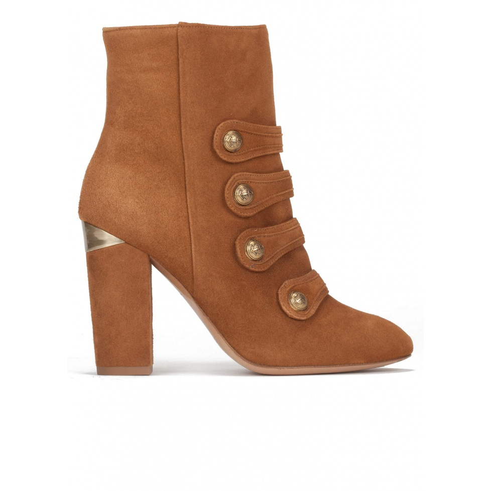 High block heel ankle boots in chestnut suede