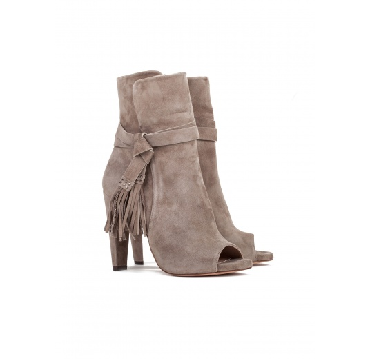 High heel ankle boots in taupe suede Pura L�pez