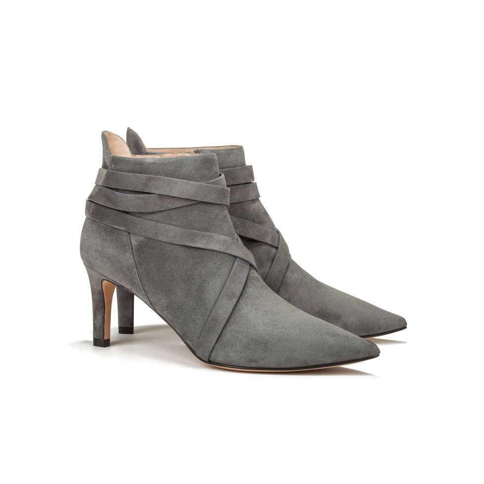 Mid heel ankle boots in grey suede - online shoe store Pura Lopez