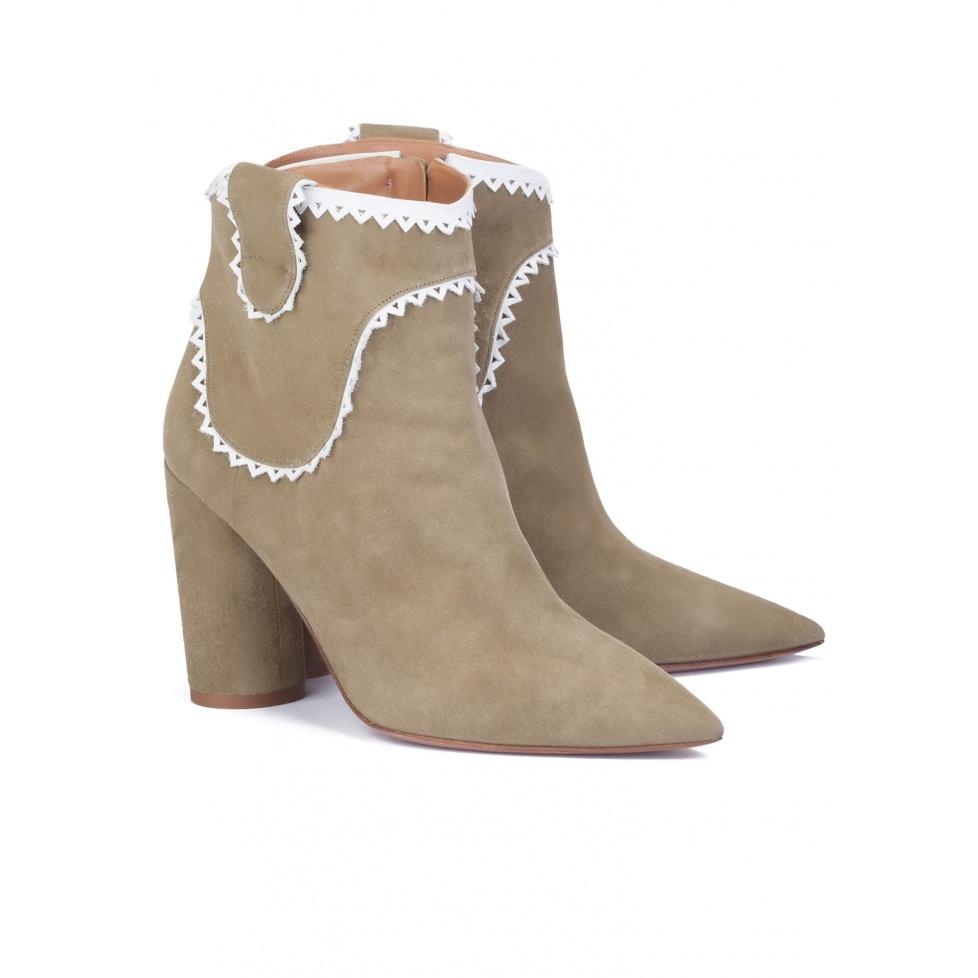 Kaki high heel ankle boots - online shoe store Pura Lopez