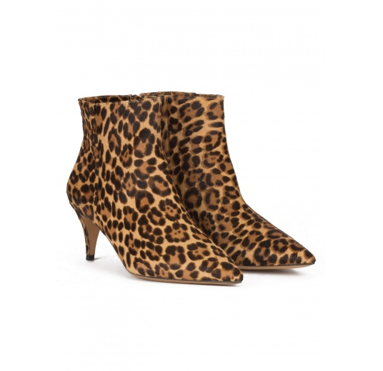 Mid heel point-toe ankle boots in leopard-print calf hair Pura L�pez