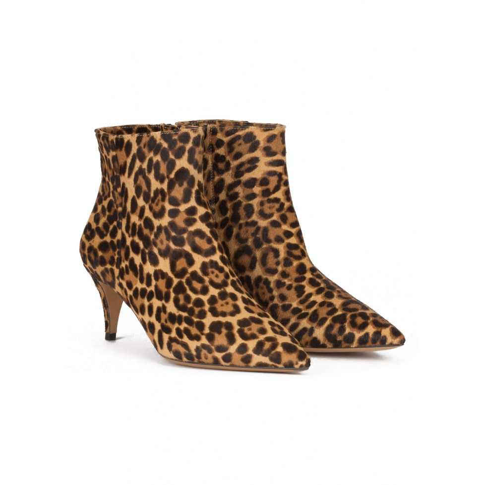 Mid heel point-toe ankle boots in leopard calf hair
