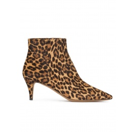 Mid heel point-toe ankle boots in leopard-print calf hair Pura López