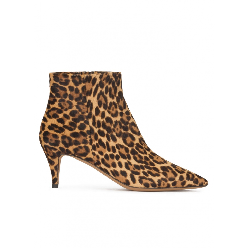 Mid heel point-toe ankle boots in leopard-print calf hair