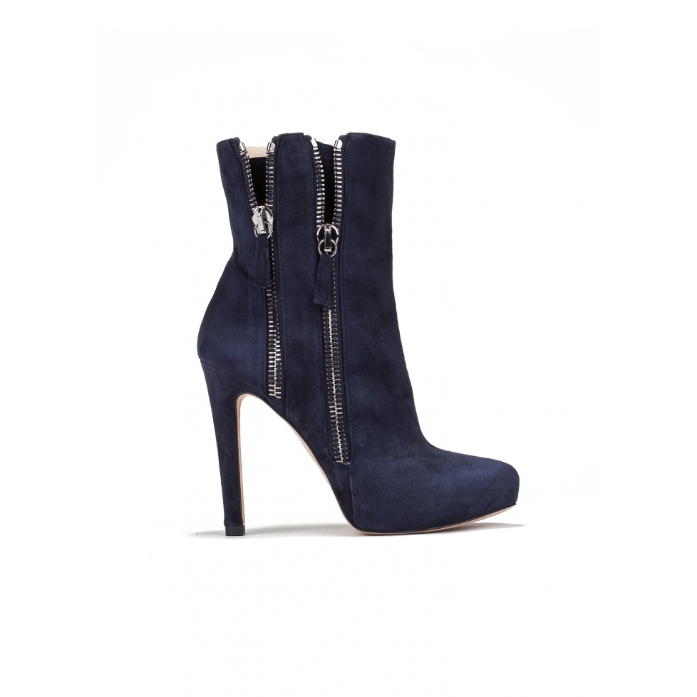 High heel ankle boots in navy blue suede