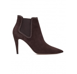 High heel ankle boots in dark brown suede Pura López
