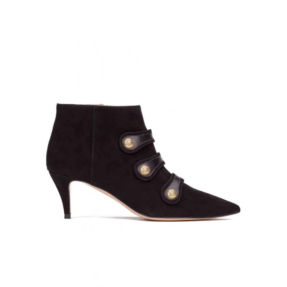 Button-embellished mid heel ankle boots in black suede