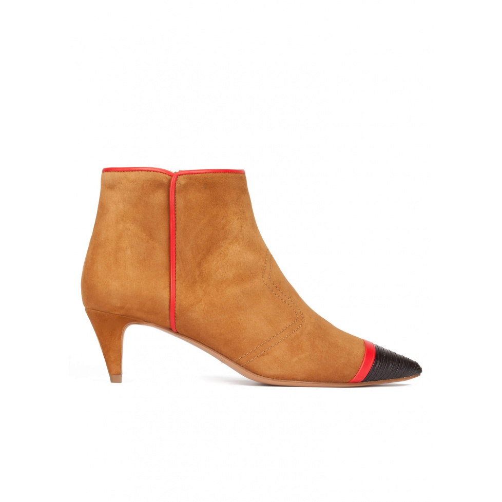 Patent detailed toe kitten heel ankle boots in camel suede