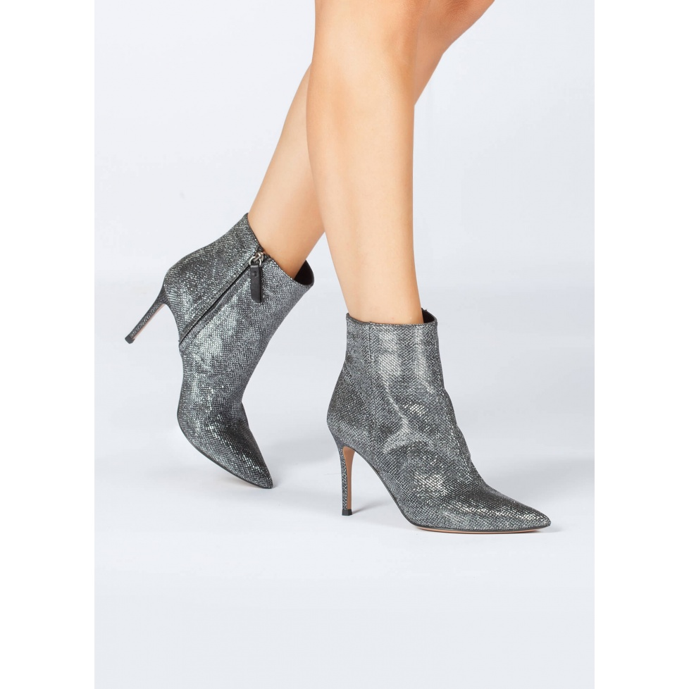 Metallic fabric high heel point-toe ankle boots