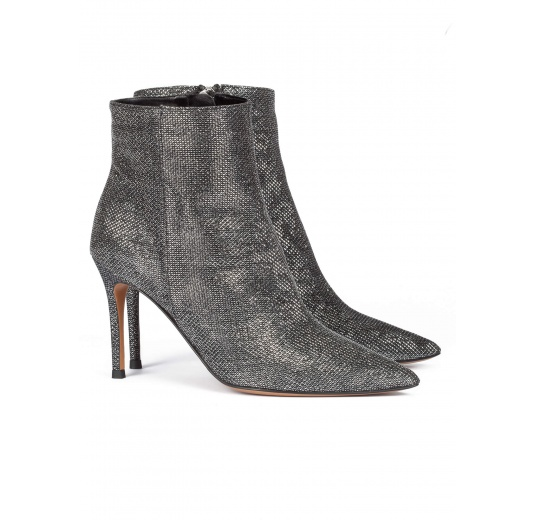 Metallic high heel point-toe ankle boots in chain-pattern fabric Pura L�pez