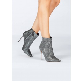 Metallic high heel pointy toe ankle boots in chain-pattern fabric Pura López