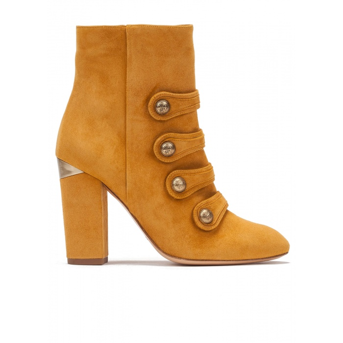 High block heel ankle boots in mustard suede