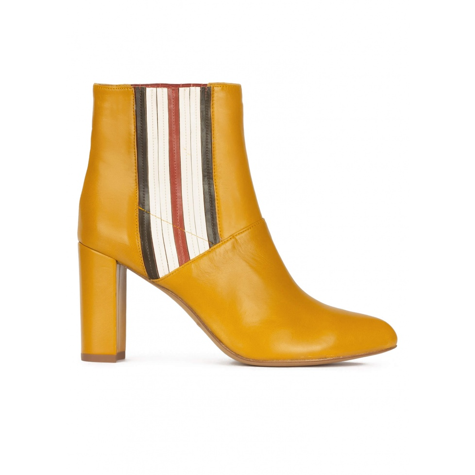 High block heel point-toe ankle boots in mustard leather