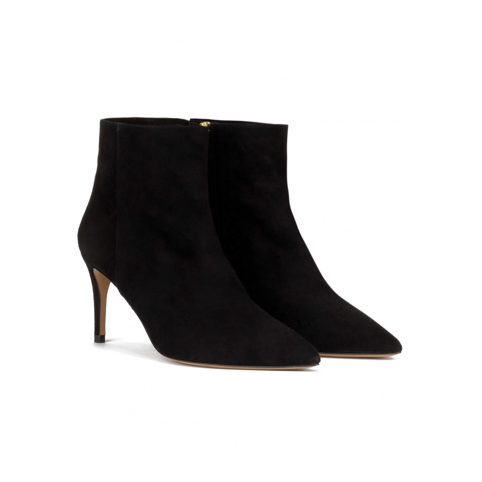 Mid heel point-toe ankle boots in black suede