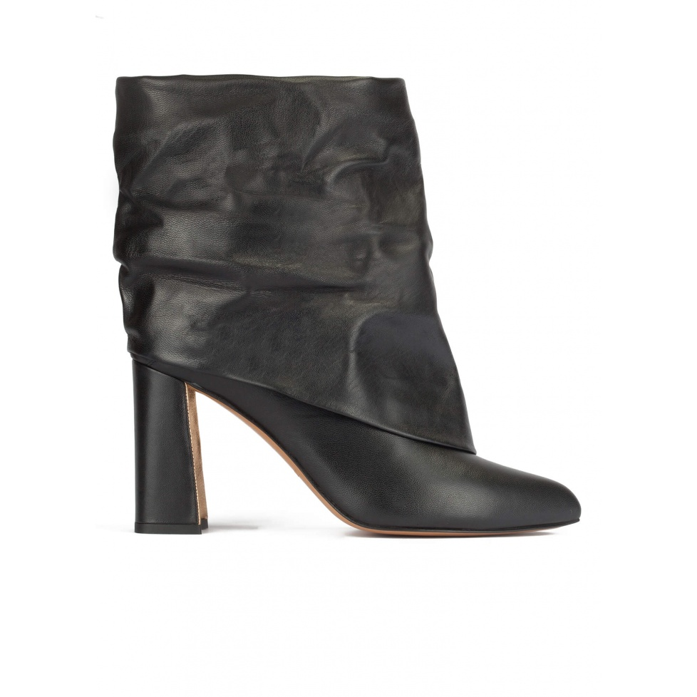 Black leather slouch high block heel ankle boots