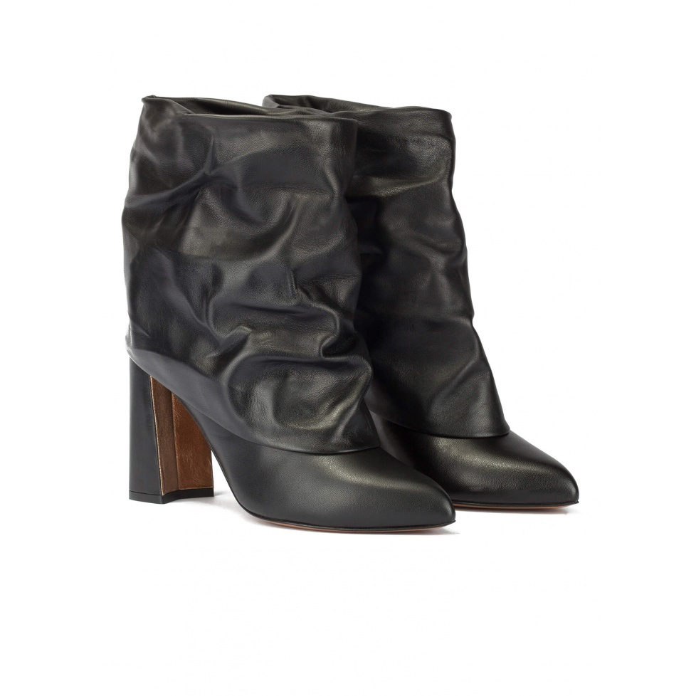 Black leahter high block heel slouch ankle boots