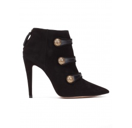 Button detailed high heel ankle boots in black suede Pura López