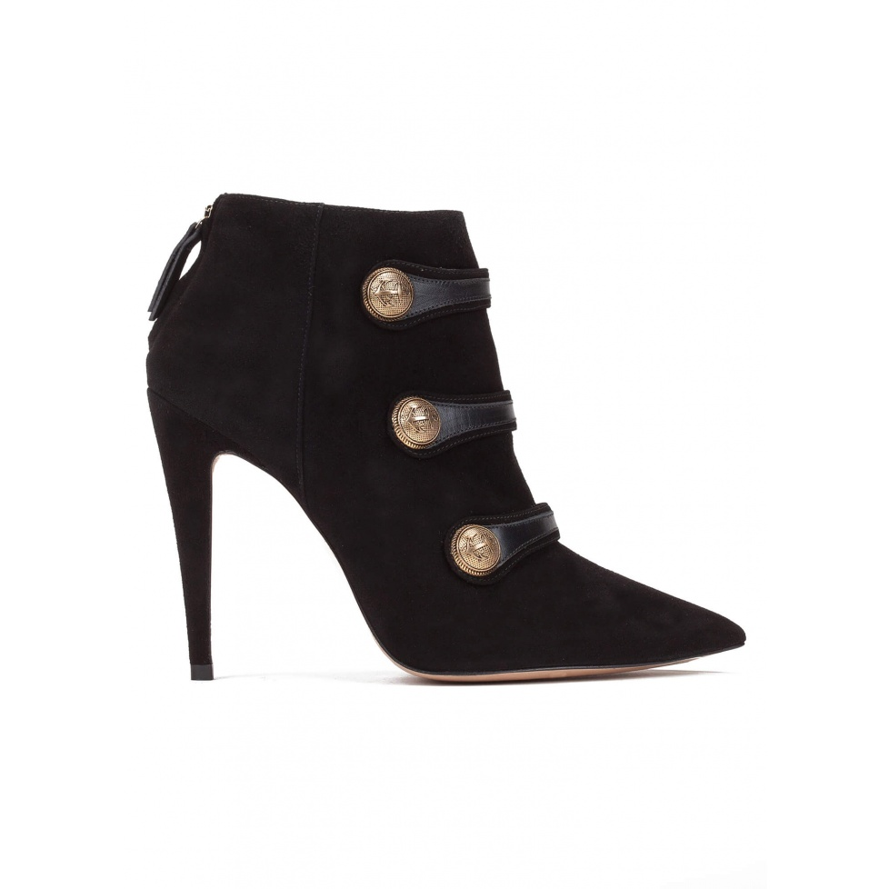 Button detailed high heel ankle boots in black suede