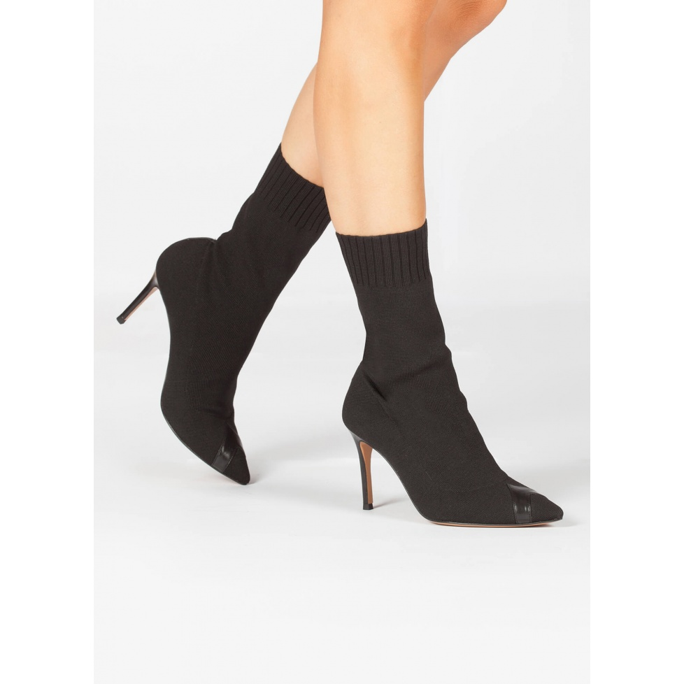 Black sock high heel pointy toe ankle boots