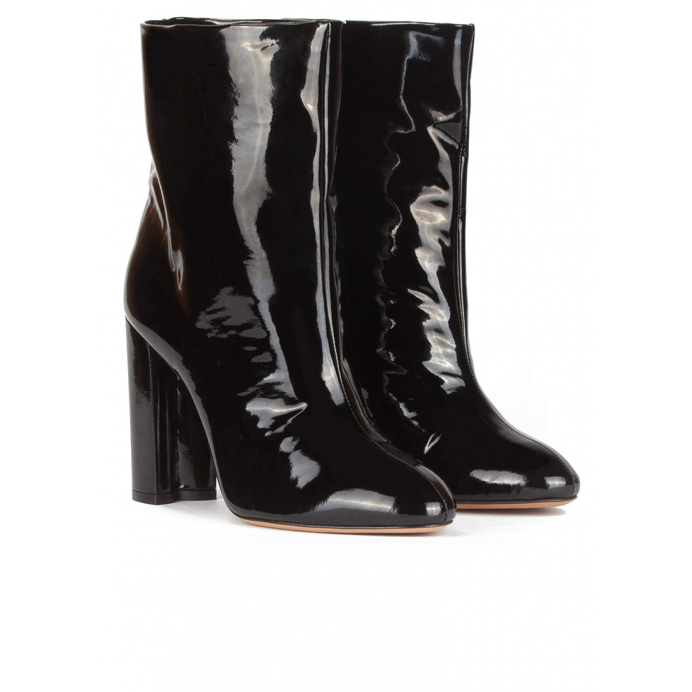 High block heel ankle boots in black patent