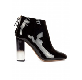 Black patent leather high block heel ankle boots Pura López