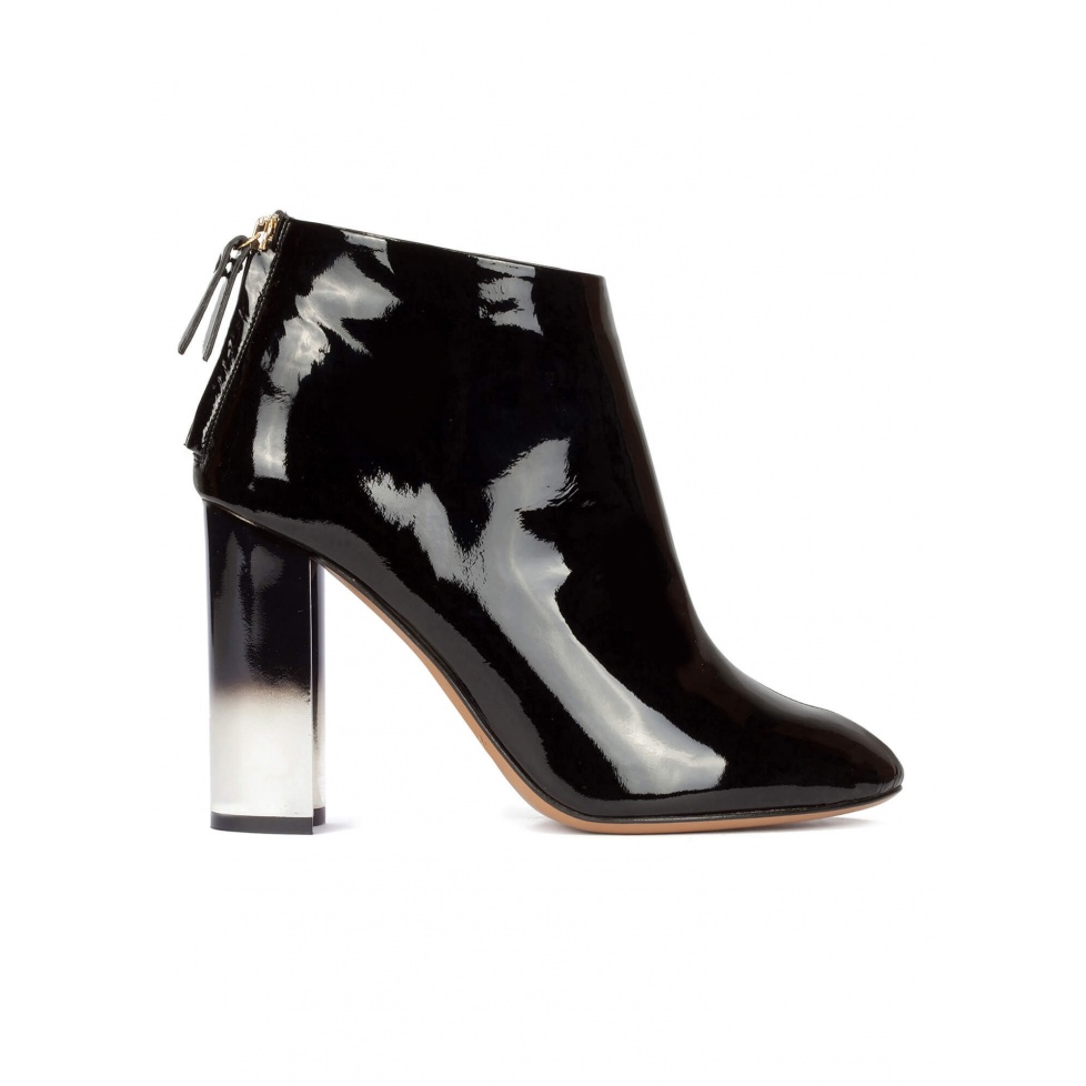 Black patent leather high block heel ankle boots