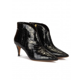 Mid-heeled ankle boots in black croco-effect leather Pura López