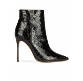High heel point-toe ankle boots in black croc-effect leather Pura López