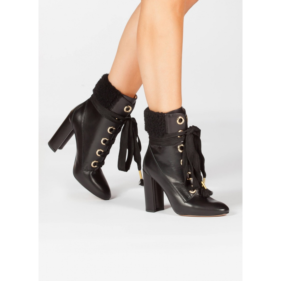 Black leather fleece ankle cuff lace-up high block heel ankle boots