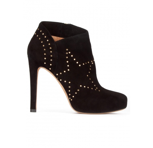 Studded high heel ankle boots in black suede Pura López