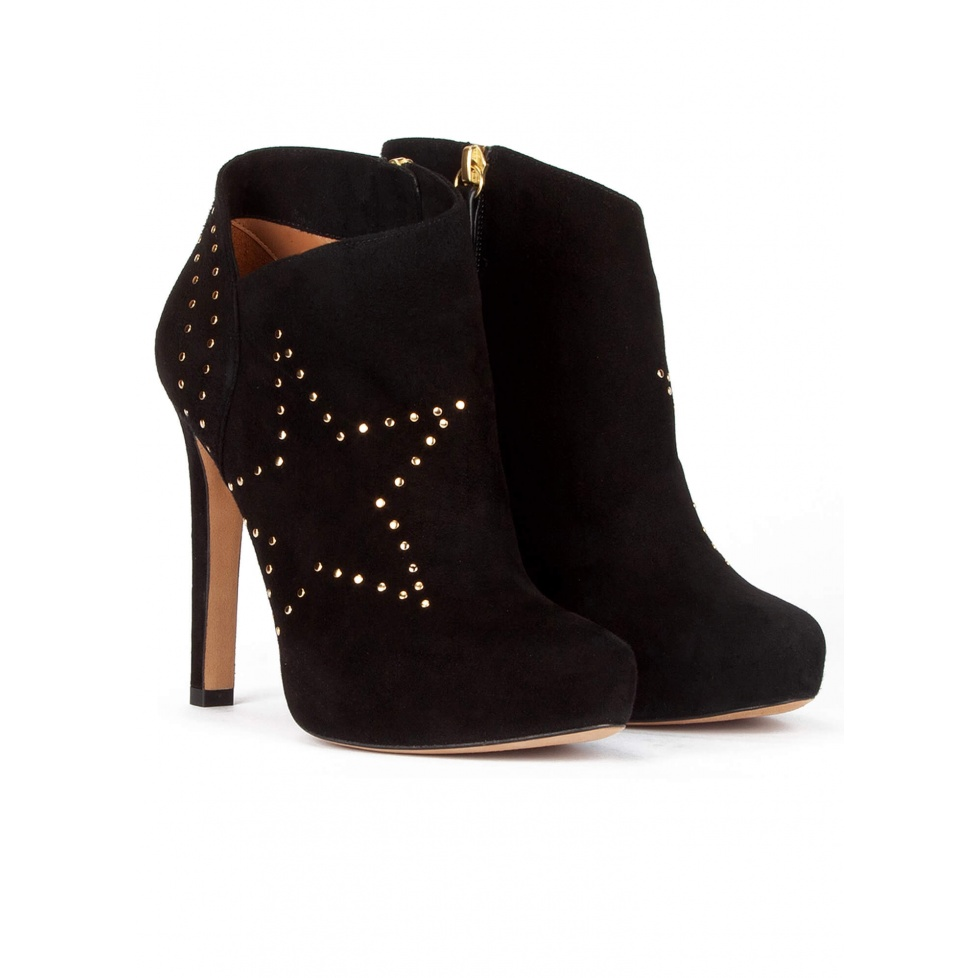 Studded high heel ankle boots in black suede