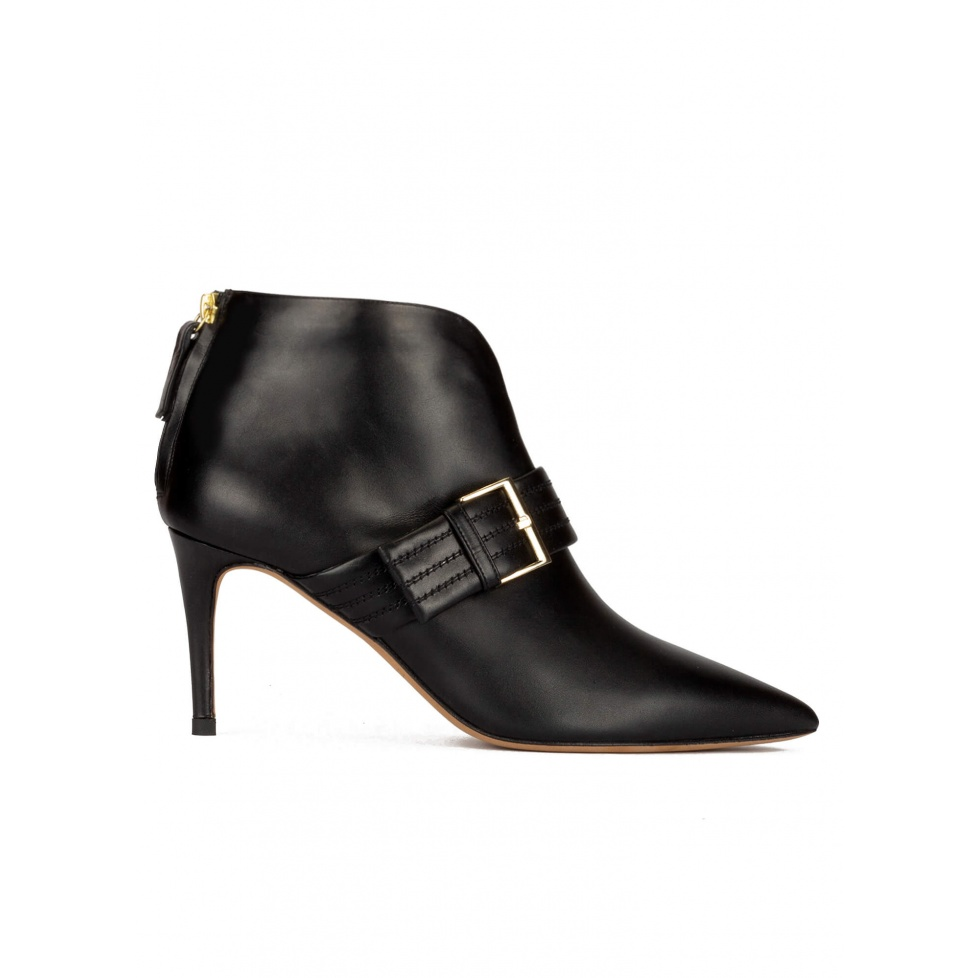 Buckle detailed point-toe ankle boots in black leather
