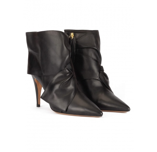 High heel point-toe ankle boots in black nappa leather Pura López