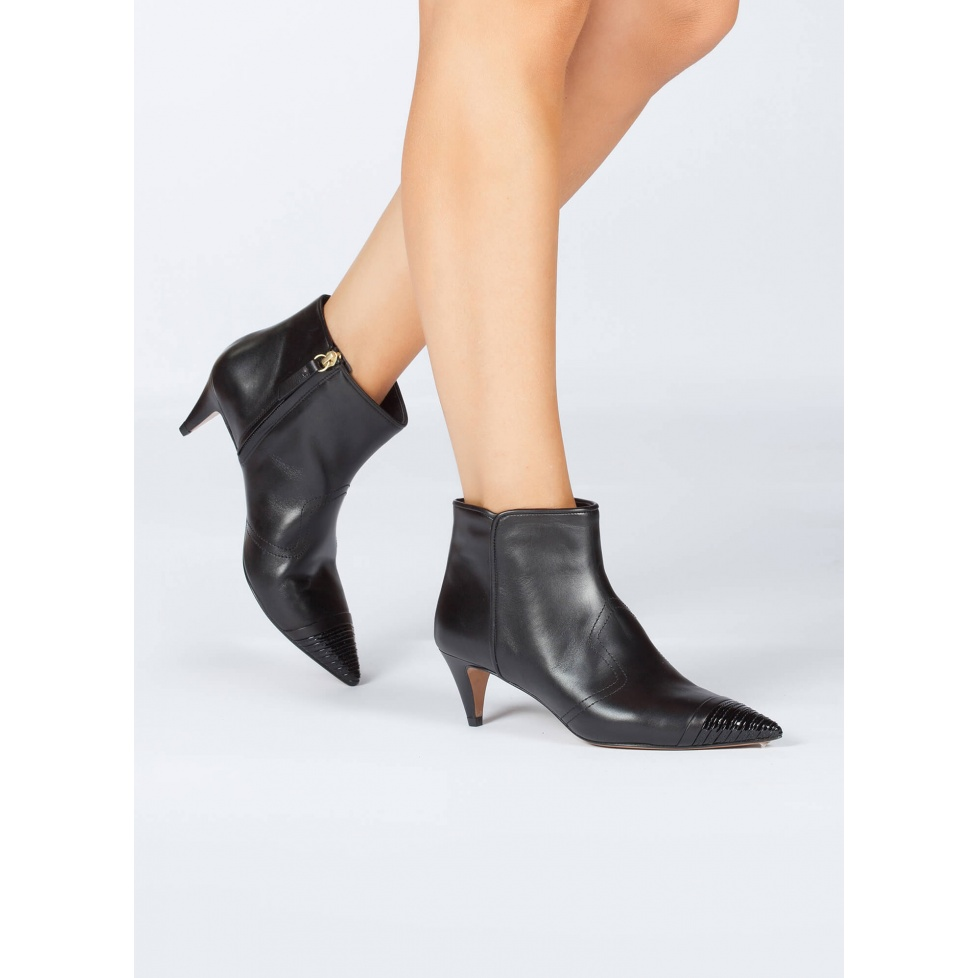 Black leather mid heel ankle boots - online shoe store Pura Lopez